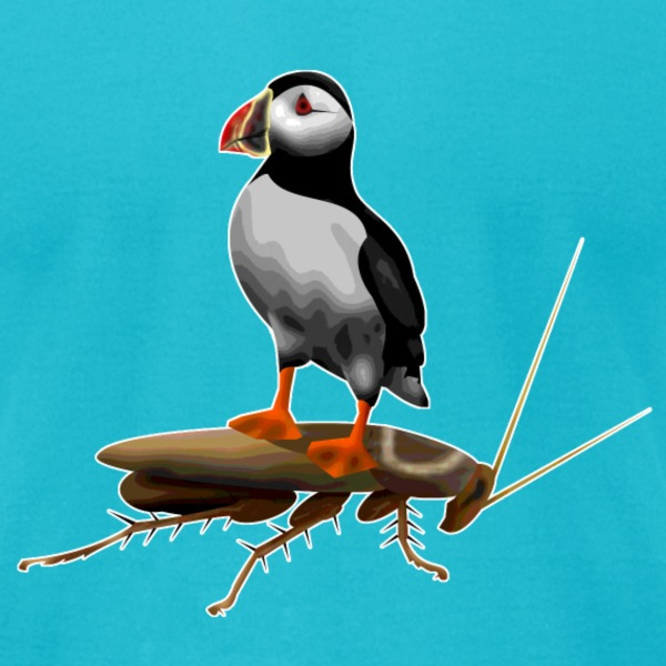 Puffin on a Roach - Men's T-Shirt by American Apparel