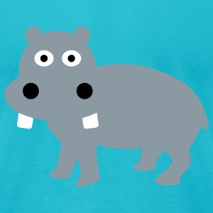 Turquoise Hippo T-Shirts - Men's T-Shirt by American Apparel