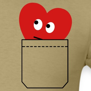 Khaki heart in pocket T-Shirts - Men's T-Shirt