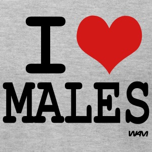 Heather grey i love males by wam T-Shirts - Men's T-Shirt by American Apparel