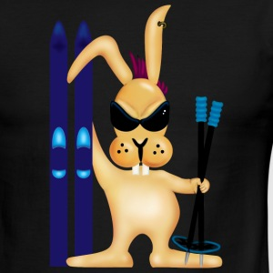 Green/white Skiing Bunny (DDP) T-Shirts - Men's Ringer T-Shirt