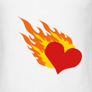 White Heart On Fire T-Shirts - Men's T-Shirt