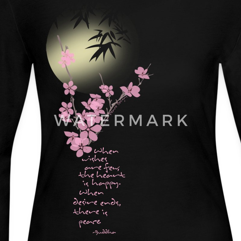 Cherry Blossom & Moon with Buddha Quote - Women's Long Sleeve Jersey T-Shirt