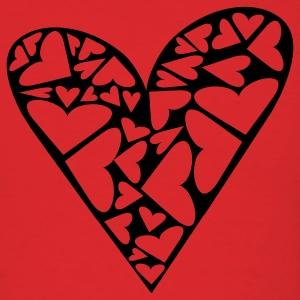 Red Hearts Cut Out In Heart Formation, Asymmetrical T-Shirts - Men's T-Shirt