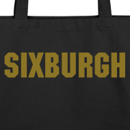Design ~ SIXBURGH Large Tote Bag - Black with Gold Text