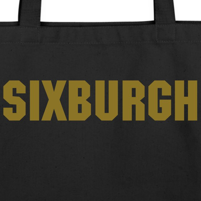 SIXBURGH Large Tote Bag - Black with Gold Text