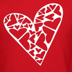 Red Hearts Cut Out In Heart Formation, Asymmetrical Long sleeve shirts
