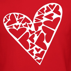 Red Hearts Cut Out In Heart Formation, Asymmetrical Long sleeve shirts - Crewneck Sweatshirt