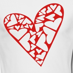 White Hearts Cut Out In Heart Formation, Asymmetrical Long sleeve shirts