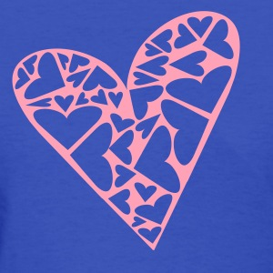 Light blue Hearts Cut Out In Heart Formation, Asymmetrical Women's T-shirts - Women's T-Shirt
