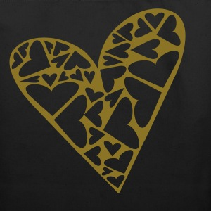 Black Hearts Cut Out In Heart Formation, Asymmetrical Bags  - Eco-Friendly Cotton Tote