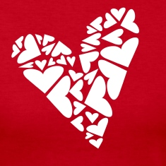 Red Hearts In Heart Formation, Asymmetrical Long sleeve shirts