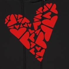 Black Hearts In Heart Formation, Asymmetrical Hoodies