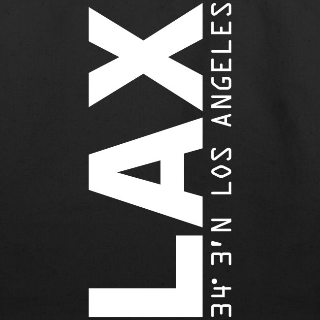 Los Angeles airport code LAX solid white letters tote bag