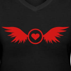 red heart with wings - Women's V-Neck T-Shirt