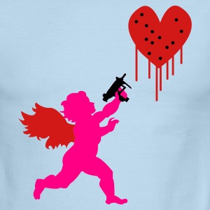 White/navy Cupid Uzi T-Shirts - Men's Ringer T-Shirt