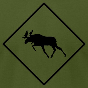 Olive Moose Crossing T-Shirts - Men's T-Shirt by American Apparel