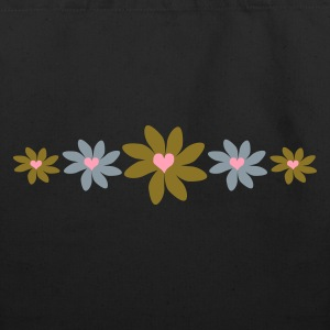 Black Big Petal Heart Flowers, 5 In A Row Bags  - Eco-Friendly Cotton Tote