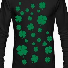Black All over four leaf clover Long sleeve shirts