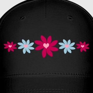 Black Big Petal Heart Flowers, 5 In A Row Caps - Baseball Cap