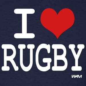 Navy i love rugby by wam T-Shirts - Men's T-Shirt