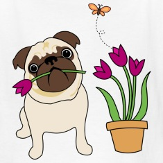 White Tulip Pug Kids Shirts