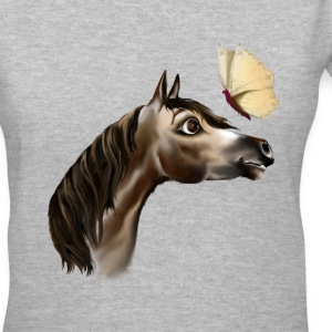 Happy Horse and Butterfly - Women's V-Neck T-Shirt