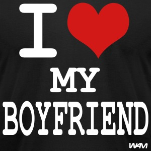 Black i love my boyfriend by wam T-Shirts - Men's T-Shirt by American Apparel