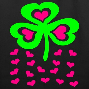 Black Big Shamrock And Little Hearts Bags  - Eco-Friendly Cotton Tote