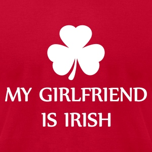 Bright green my girlfriend is irish T-Shirts - Men's T-Shirt by American Apparel