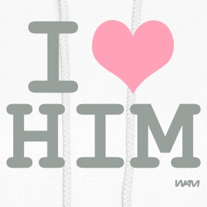 White i love him by wam Hooded Sweatshirts - Women's Hoodie