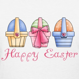 White Happy Easter Baskets Of Eggs Women's T-shirts - Women's T-Shirt