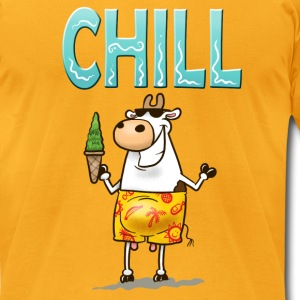 Gold Chill Cow T-Shirts - Men's T-Shirt by American Apparel