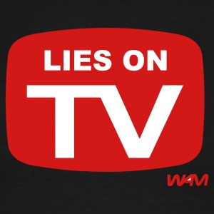 White/red lies on tv by wam T-Shirts - Men's Ringer T-Shirt