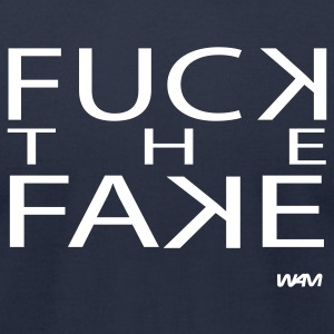 Navy fuck the fake by wam T-Shirts - Men's T-Shirt by American Apparel