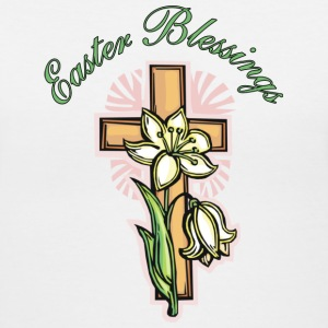 White Easter Blessings Cross and Lily Women's T-shirts - Women's V-Neck T-Shirt