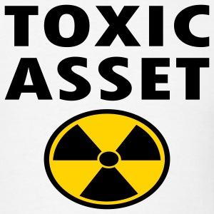 White Toxic Asset With Hazardous Waste Symbol T-Shirts - Men's T-Shirt