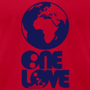 ONE LOVE : think global - Brown T-Shirt M - Men's T-Shirt by American Apparel