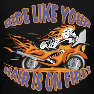 Flaming Motorcycle Skull - Women's Long Sleeve Jersey T-Shirt