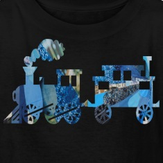 Black TRAIN SET Kids Shirts