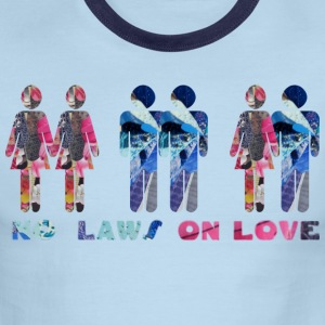 White/navy NO LAWS ON LOVE T-Shirts - Men's Ringer T-Shirt
