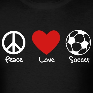 Peace, Love, Soccer Men's Tee - Men's T-Shirt