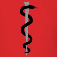 Red Rod of Asclepius - Medical Symbol T-Shirts