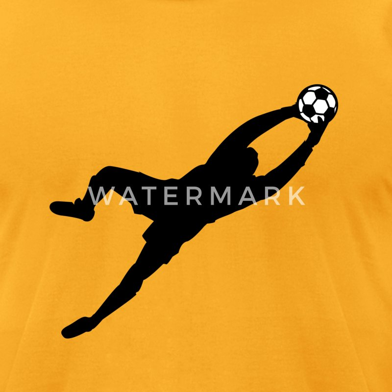 Gold Cool Soccer Goalie Dive Save Graphic T-Shirts - Men's T-Shirt by American Apparel