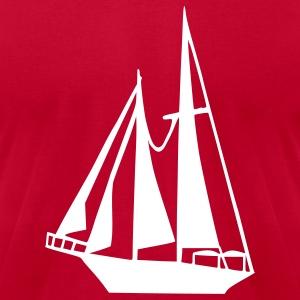 Eggplant Sailing Boat T-Shirts - Men's T-Shirt by American Apparel