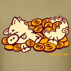 Khaki Money Pig T-Shirts - Men's T-Shirt