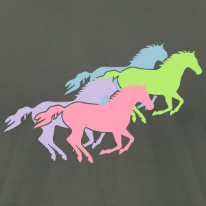 Wild horses Group Pastel Colors - Men's T-Shirt by American Apparel