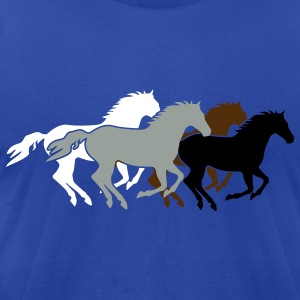 Wild horses Group realistic Colors - Men's T-Shirt by American Apparel