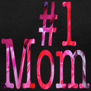Black Number One MOM Women's T-Shirts - Women's V-Neck T-Shirt