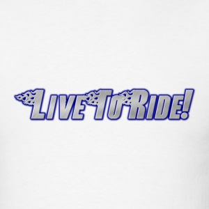 Live To Ride! Motorcycle T-Shirt Blue Flames  - Men's T-Shirt